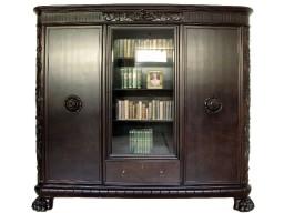Przepiękna Biblioteka na lwich łapach z rozetami i szufladą.